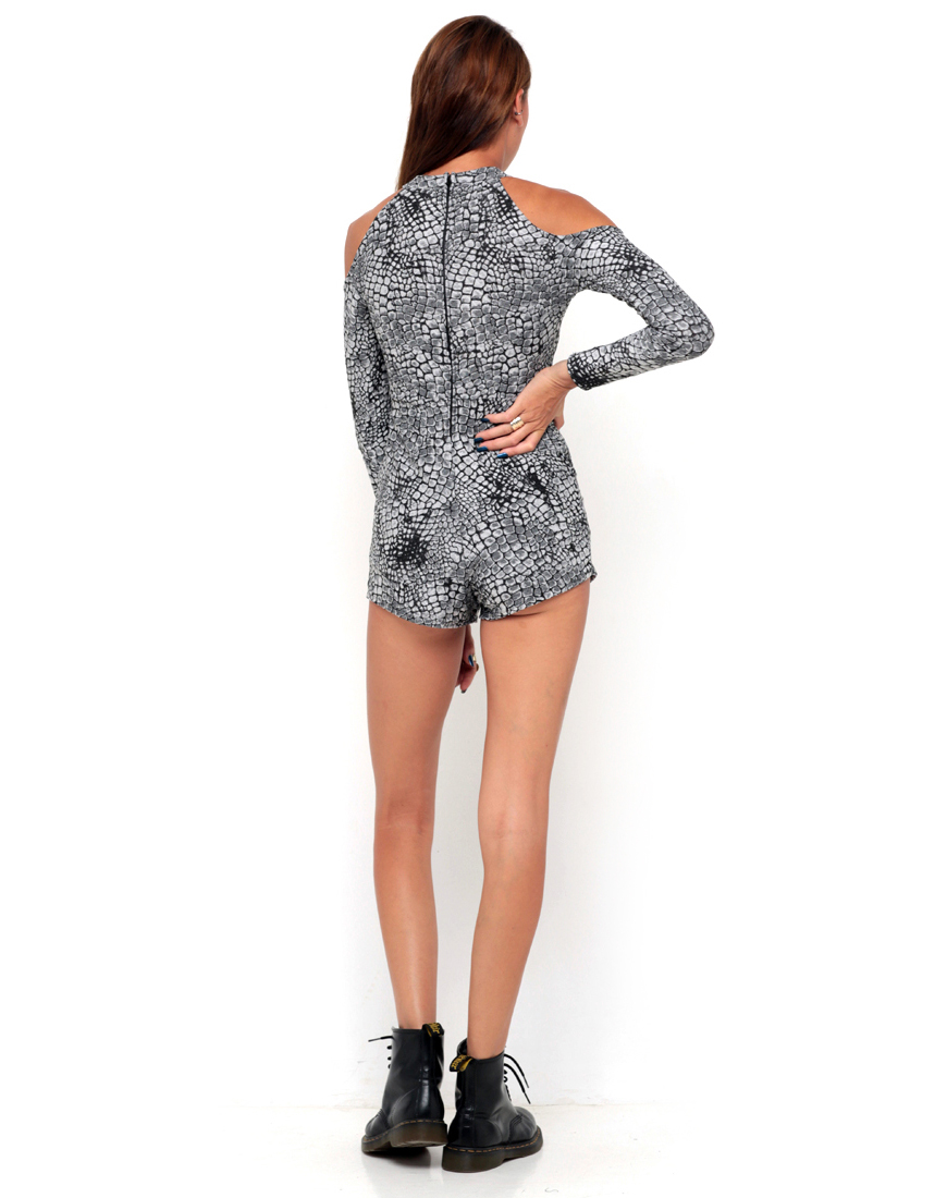 Buy Motel Mars Cut Out Playsuit in Snake Waffle at Motel Rocks