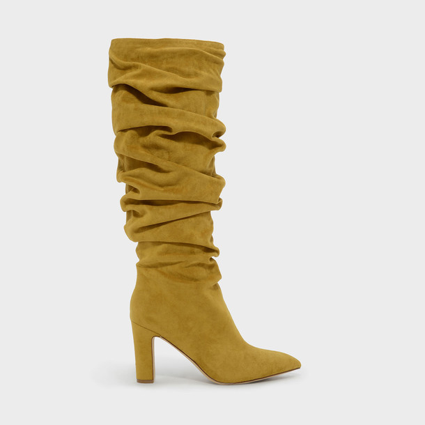 high knee high knee high boots yellow shoes