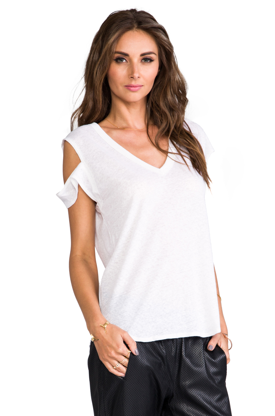 LNA Ruby Cutout Tee in White