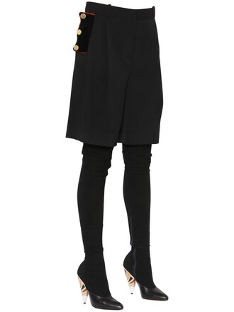shorts wool velvet black