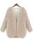 Beige v neck long sleeve faux fur coat