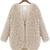 Beige V Neck Long Sleeve Faux Fur Coat - Sheinside.com