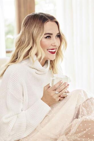 sweater turtleneck turtleneck sweater skirt polka dots see through lauren conrad editorial blogger