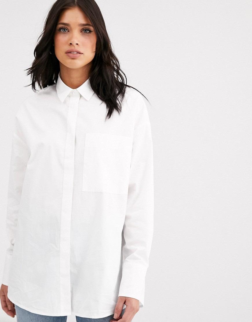 ASOS DESIGN long sleeve boyfriend shirt in cotton