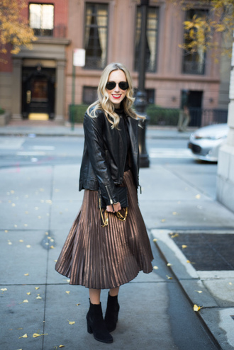 katie's bliss - a personal style blog based in nyc blogger skirt jacket scarf shoes jewels make-up pleated skirt midi skirt ankle boots black leather jacket