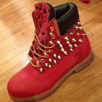 shoes red and black timberlands. spike fur