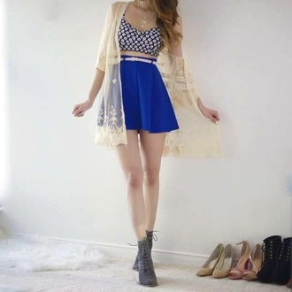 cardigan kimono lace hipster cute trendy skirt top