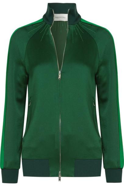 Valentino jacket green satin army green