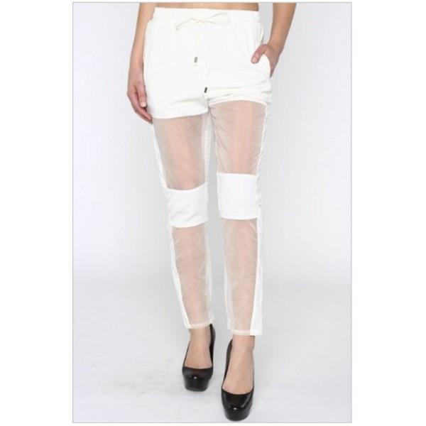 pants sheer kylie jenner harem pants elastic waist
