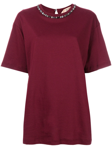No21 t-shirt shirt t-shirt metal women pearl embellished cotton red top