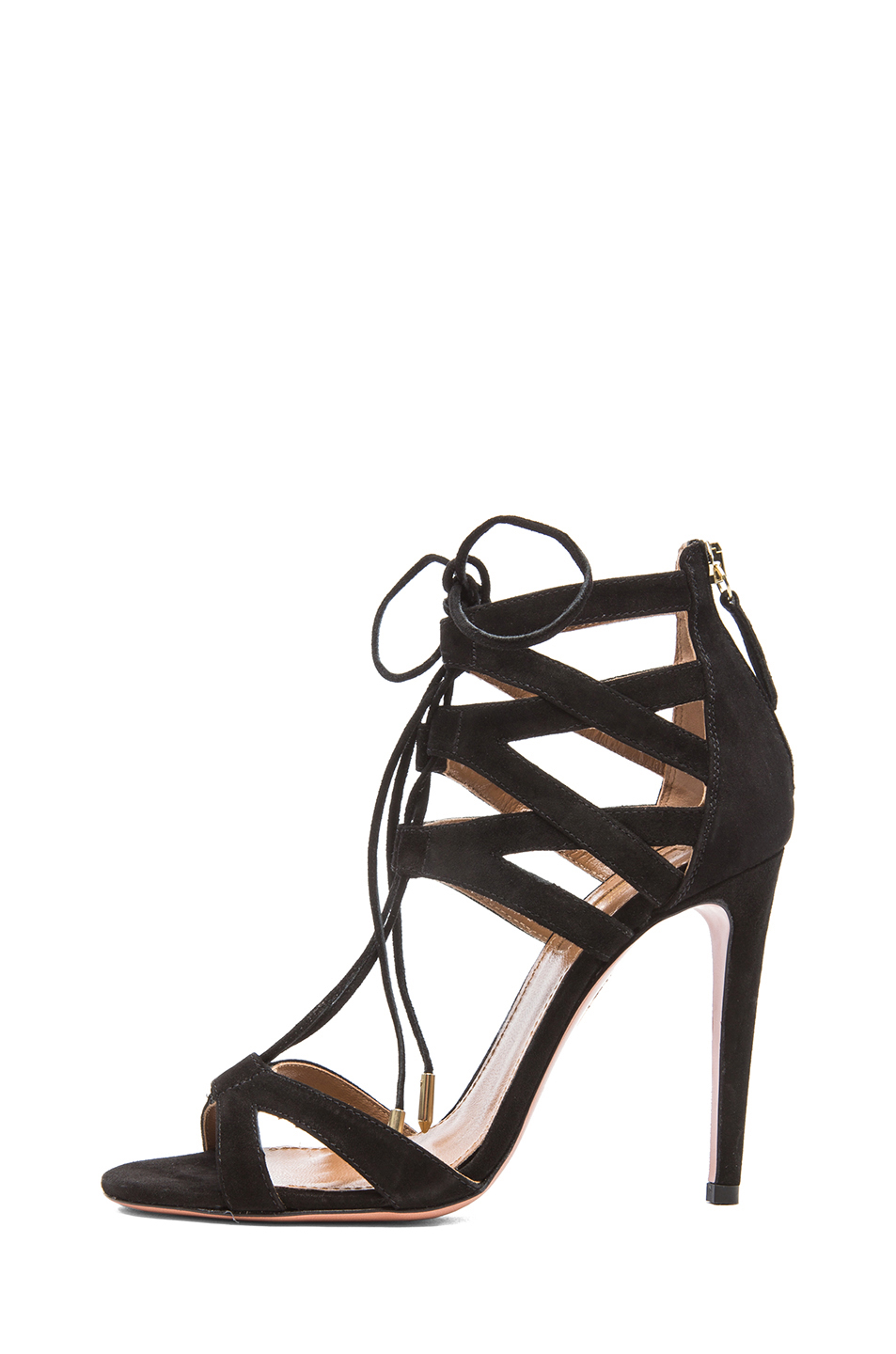 Aquazzura | Beverly Hills Suede Sandals in Black