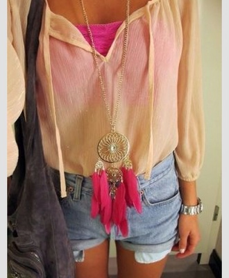 jewels dreamcatcher necklace pink chain cute long shirt blouse bag shorts