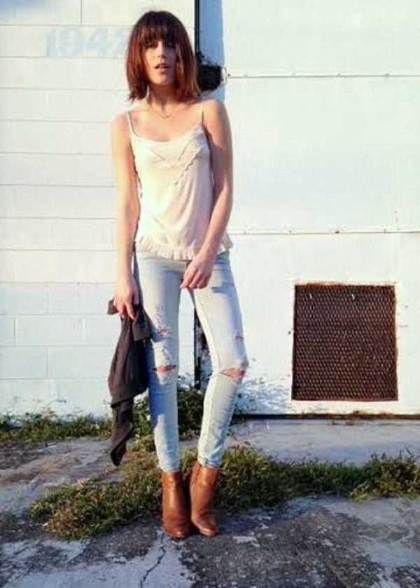 fire on the head jeans tank top sweater shoes