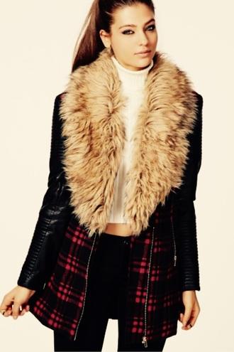 jacket faux fur jacket coat leather jacket leggings