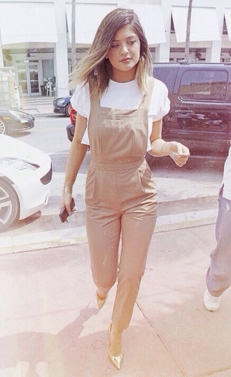 jumpsuit kylie jenner nude beige alternative kardashians trendy chic top tv show