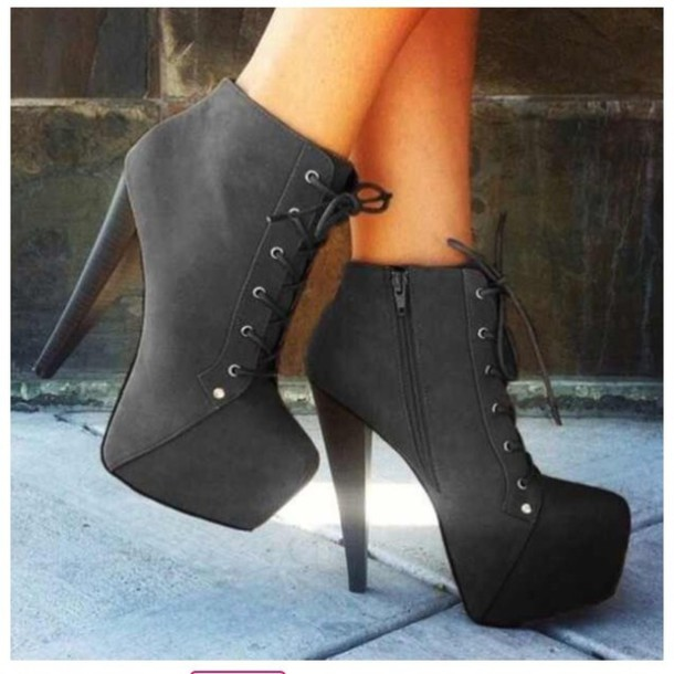 Pictures of black boot shoes for ladies - WOMENS WEDGE HEEL LACE