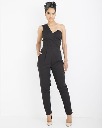 jumpsuit black black jumpsuit one shoulder one shoulder jumpsuit