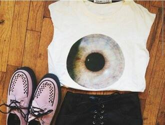 t-shirt eye top t-shirt women creepers pink black