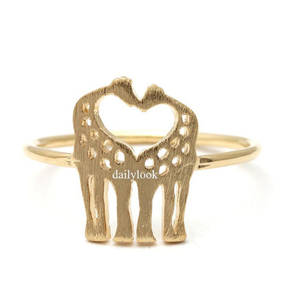 jewels ring gold ring heart ring giraffe ring cute ring animal ring girl ring