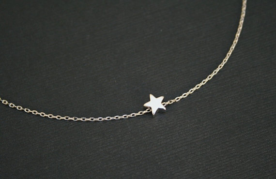 Tiny silver star necklace in sterling silver by bellajewelsinc