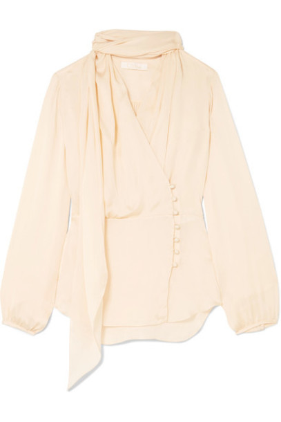 blouse bow silk cream top