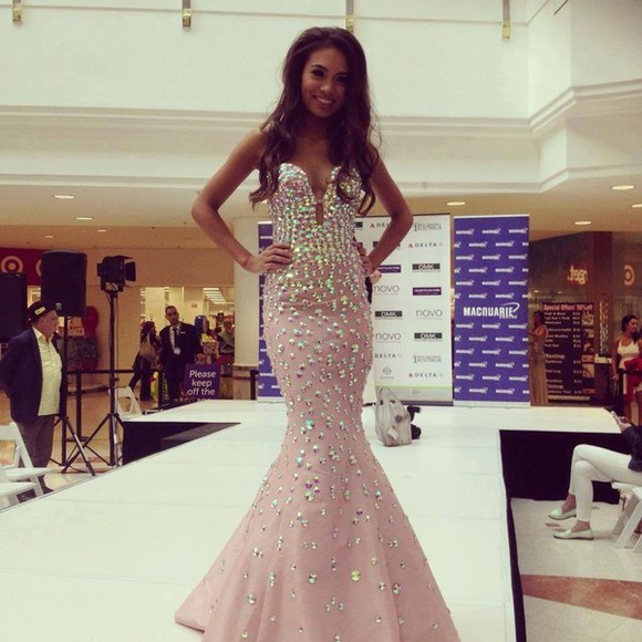 swarovski sweetheart neckline mermaid gown dress pink prom prom dress maxi dress beautiful