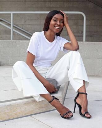 top tumblr t-shirt pants white pants wide-leg pants sandals sandal heels high heel sandals black sandals shoes bag