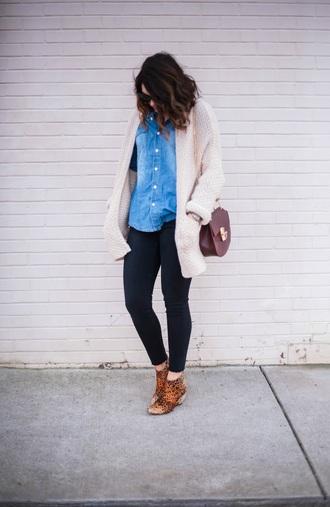 cardigan bag sunglasses shoes life & messy hair blogger shirt