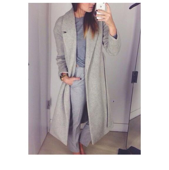 blue shirt gray coat