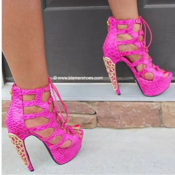 Shoes: hot pink pink bling gold rhinestones sexy heels high