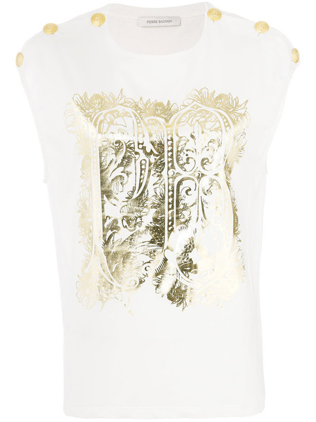 Pierre Balmain tank top top women white cotton