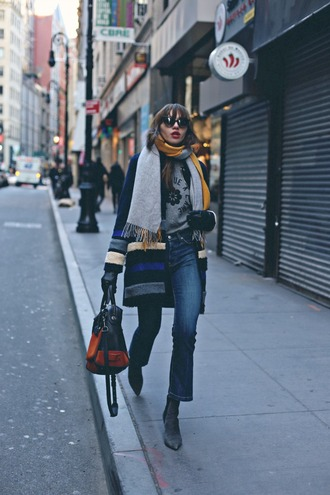 natalie off duty blogger jeans sweater coat scarf bag sunglasses shoes