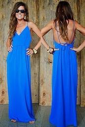 dress,blue prom dress,backless prom dress,maxi dress,blue maxi dress,blue long prom dress,cobalt maxi dress,cobalt blue,spaghetti straps dress,blue dress,summer dress
