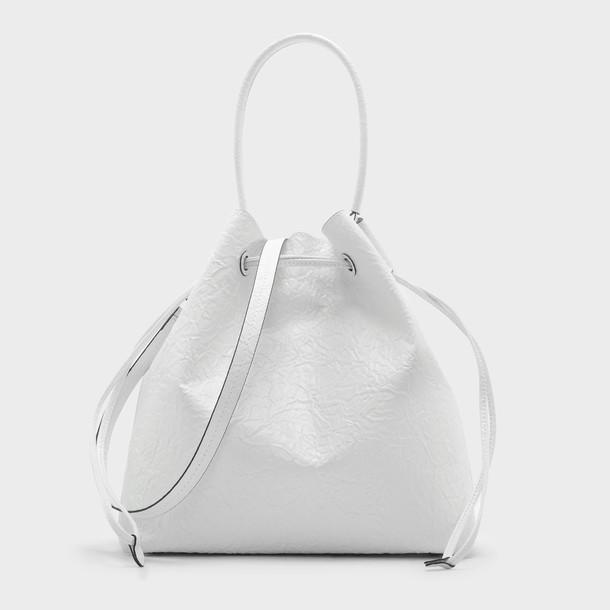 basic drawstring bag shoulder bag white