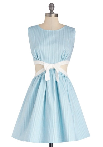 dress blue stripe fit and flare bow cut-out flared skater skirt