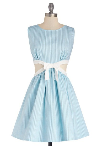 dress blue stripes fit and flare bow cut-out flared skater skirt