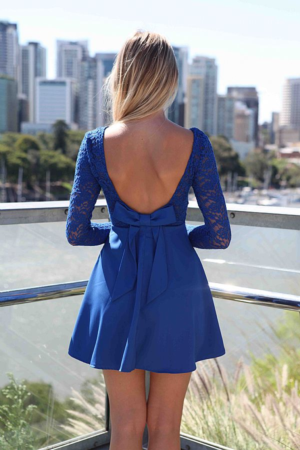 Blue Cocktail Dress - Blue Long Sleeve Skater Dress | UsTrendy