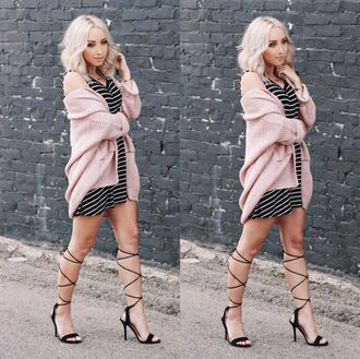 angl striped dress oversized cardigan pink sweater knitted cardigan strappy heels platinum blonde pink cardigan pastel pink spring outfits