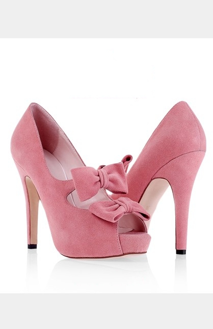 Cheap Open Toe Bows Pink Special Occasion Shoes
