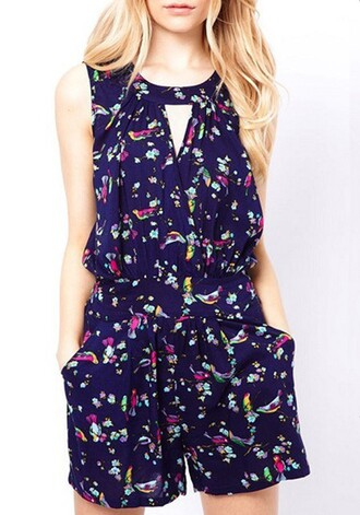 jumpsuit dark blue cut-out pockets