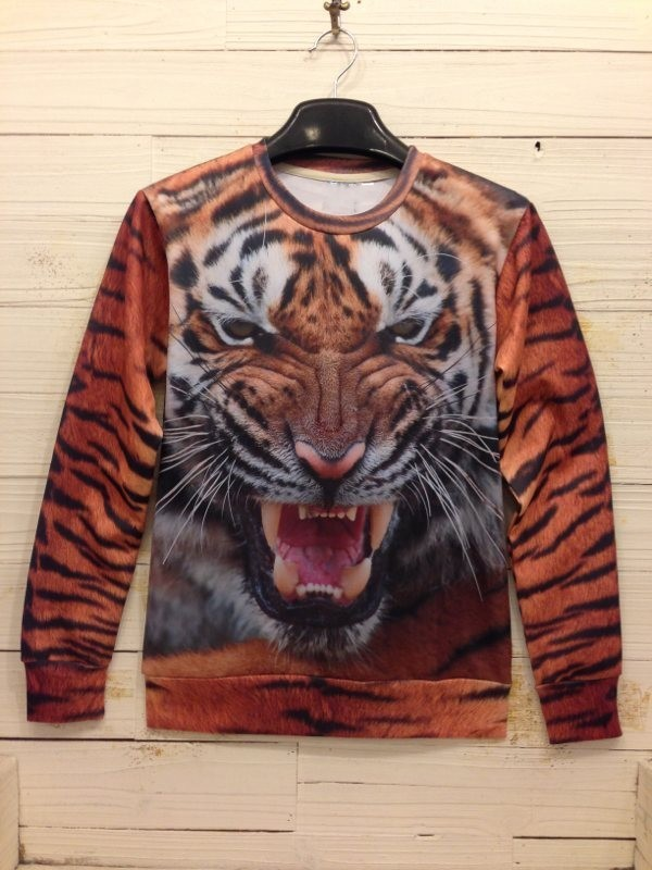 New Fashion 2013 Women/Men animal tiger Pullovers Funny 3d sweatshirts leopard/pug  print  galaxy sweaters Hoodies top S/M/LXL-in Hoodies & Sweatshirts from Apparel & Accessories on Aliexpress.com