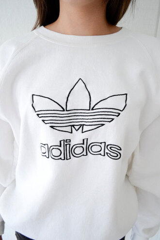 sweater adidas white black sweatshirt