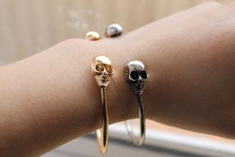 jewels skull bracelets bershka zara gold silver tumblr serene boho