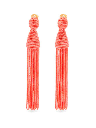 tassel embellished earrings coral jewels