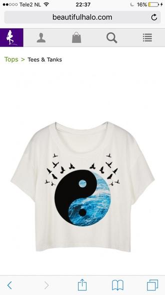 shirt white crop tops trendy yin yang summer spring cool blue beautifulhalo