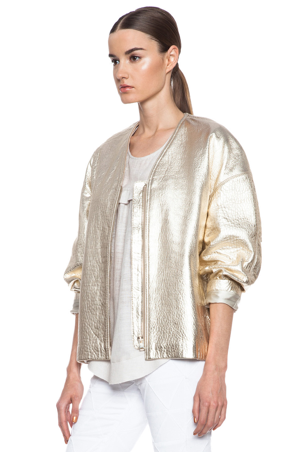 Camelia lambskin leather jacket in gold