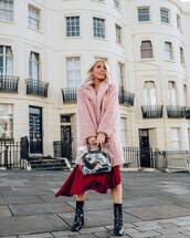 coat,faux fur coat,pink coat,ankle boots,black boots,handbag,transparent  bag,skirt,asymmetrical skirt,midi skirt,earrings