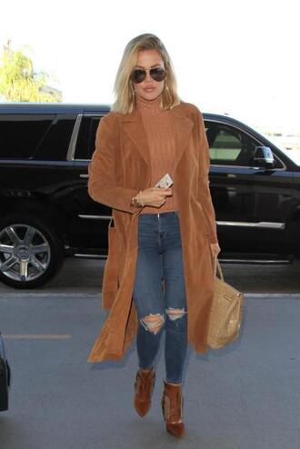 coat camel camel coat khloe kardashian fall outfits ankle boots ripped jeans turtleneck sunglasses kardashians top ribbed top