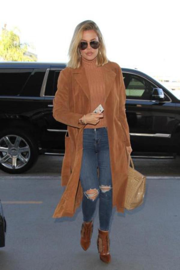 Coat Camel Camel Coat Khloe Kardashian Fall Outfits