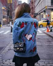 jacket,tumblr,blue jacket,denim jacket vintage coat,embroidered,embroidered jacket,embroidered denim,skirt,mini skirt,black skirt,bag,black bag,embellished bag,embellished,chain bag,rose embroidered